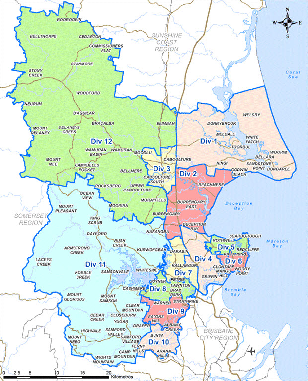 Moreton Bay Council Divisions